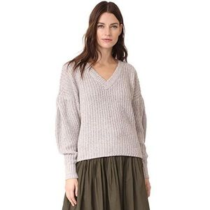 Madewell Gray Pleat-Sleeve Pullover Sweater